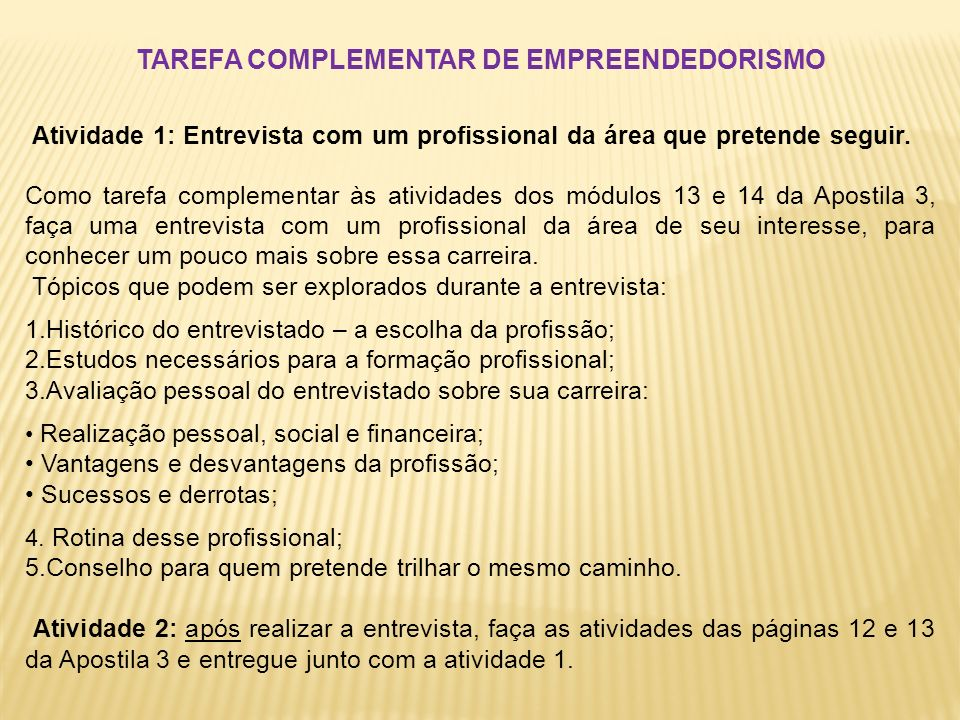 TAREFA COMPLEMENTAR DE EMPREENDEDORISMO