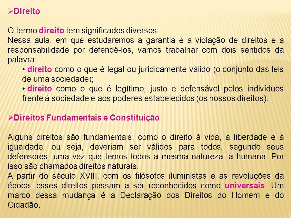 Direito O termo direito tem significados diversos.