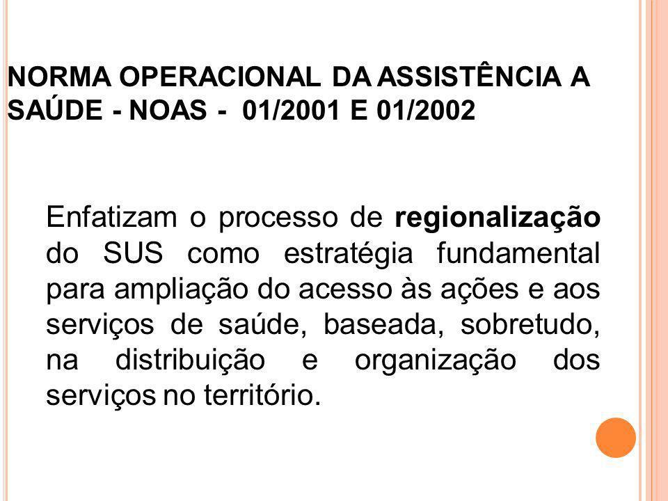 NORMA OPERACIONAL DA ASSISTÊNCIA A SAÚDE - NOAS - 01/2001 E 01/2002