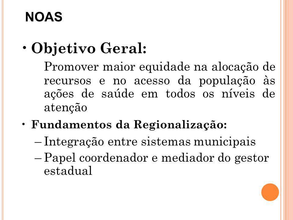 NOAS Objetivo Geral: Promover maior equidade na alocação de recursos e no acesso da população às ações de saúde em todos os níveis de atenção.