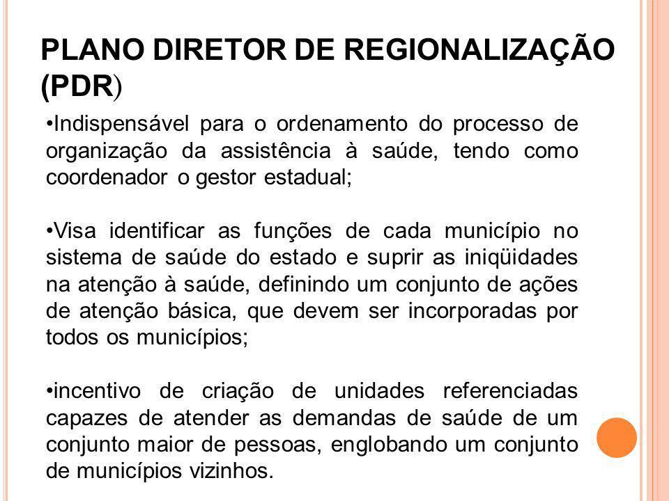 PLANO DIRETOR DE REGIONALIZAÇÃO (PDR)