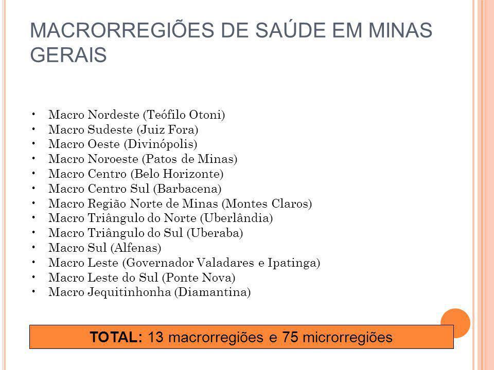 MACRORREGIÕES DE SAÚDE EM MINAS GERAIS