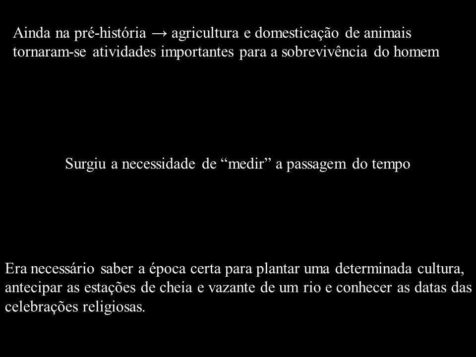 Ainda na pré-história → agricultura e domesticação de animais