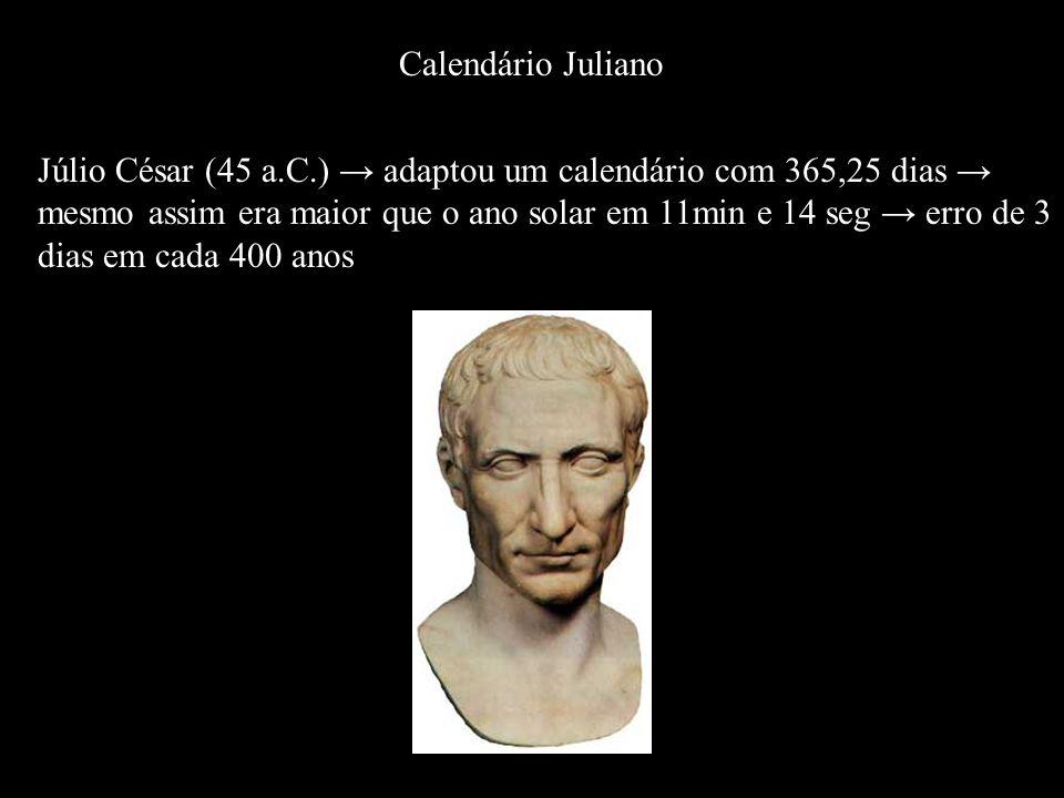 Júlio César (45 a.C.) → adaptou um calendário com 365,25 dias →