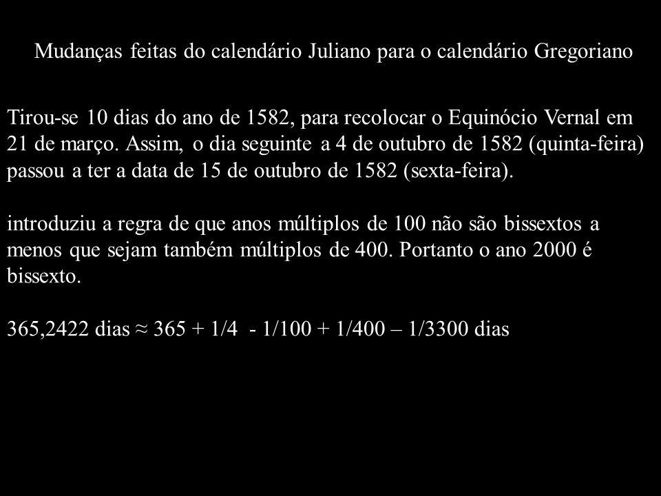 Mudanças feitas do calendário Juliano para o calendário Gregoriano