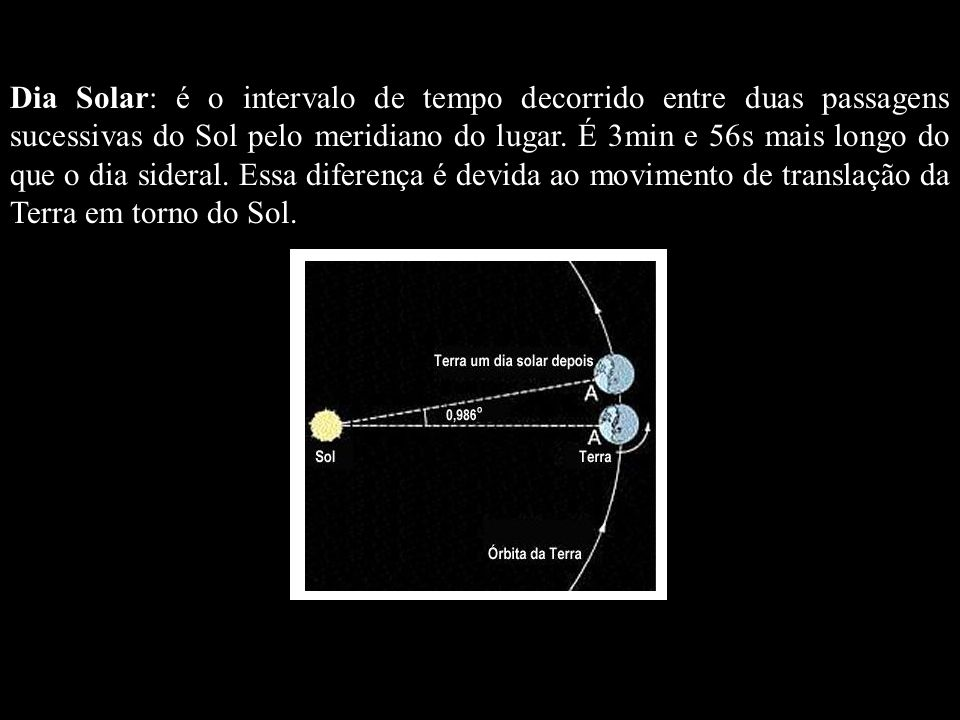Dia Solar: é o intervalo de tempo decorrido entre duas passagens sucessivas do Sol pelo meridiano do lugar. É 3min e 56s mais longo do que o dia sideral. Essa diferença é devida ao movimento de translação da Terra em torno do Sol.
