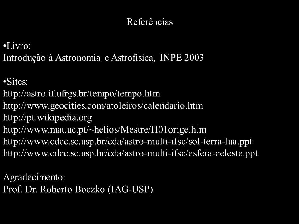 Referências Livro: Introdução à Astronomia e Astrofísica, INPE 2003. Sites: http://astro.if.ufrgs.br/tempo/tempo.htm.