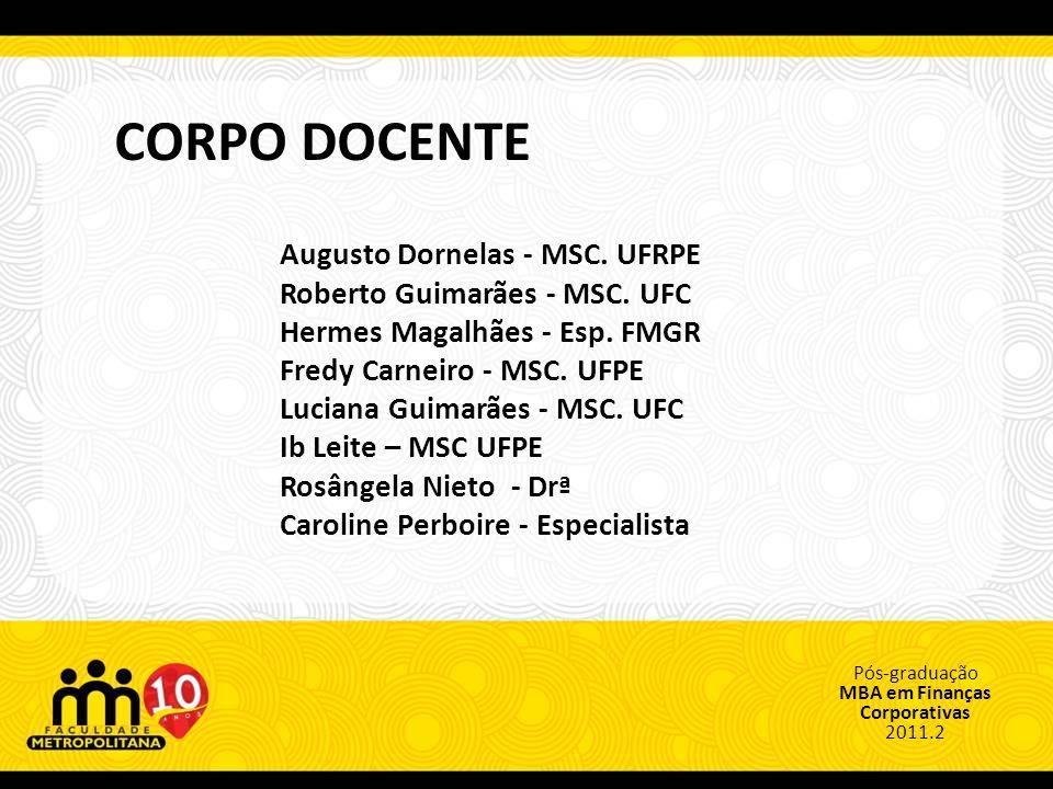 CORPO DOCENTE Augusto Dornelas - MSC. UFRPE