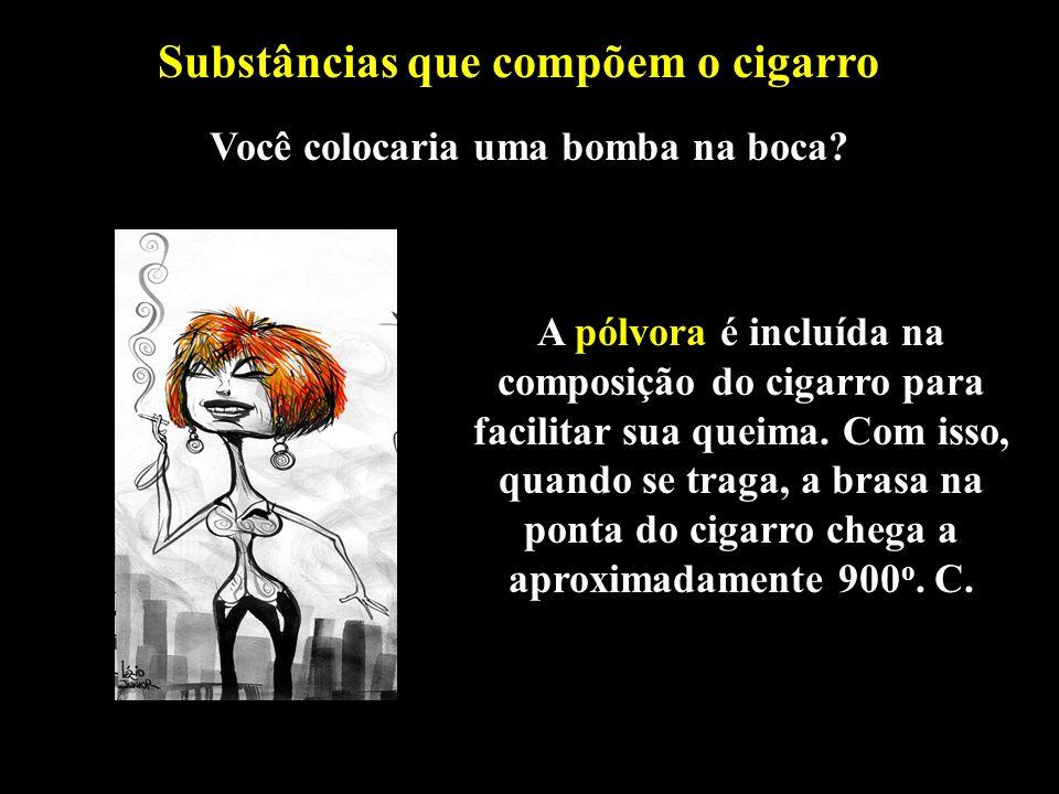 Substâncias que compõem o cigarro Você colocaria uma bomba na boca
