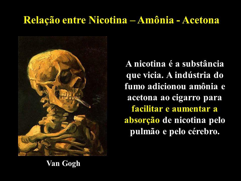 Relação entre Nicotina – Amônia - Acetona