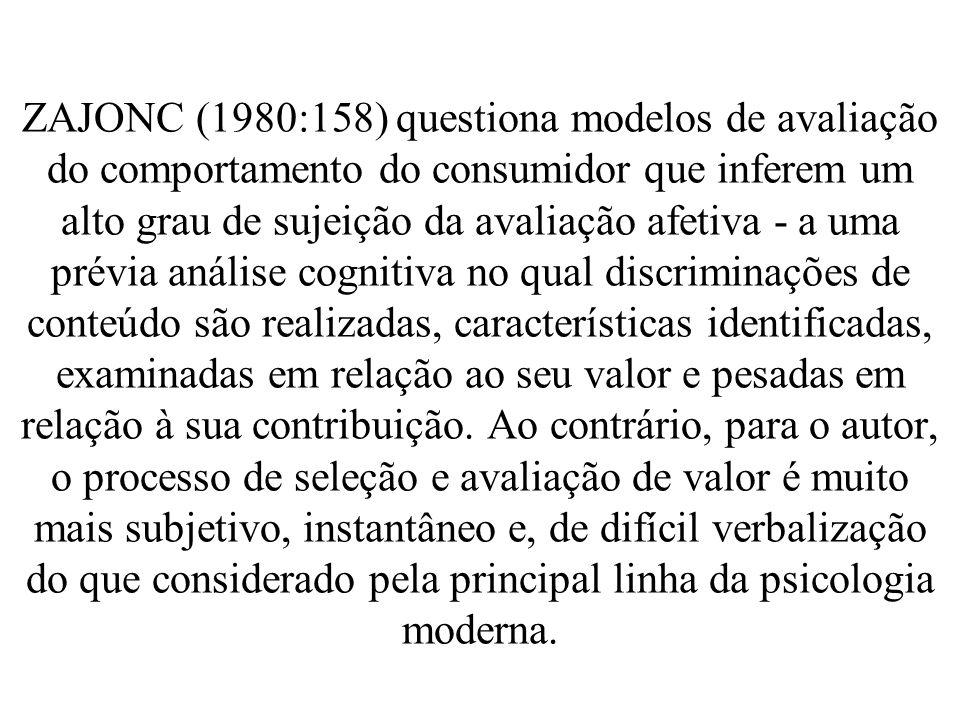 ZAJONC (1980:158) questiona modelos de avaliação do comportamento do consumidor que inferem um alto grau de sujeição da avaliação afetiva - a uma prévia análise cognitiva no qual discriminações de conteúdo são realizadas, características identificadas, examinadas em relação ao seu valor e pesadas em relação à sua contribuição.