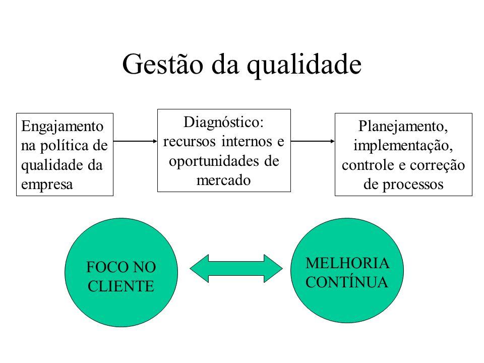 Gestão da qualidade Diagnóstico: recursos internos e oportunidades de mercado. Engajamentona política de qualidade da empresa.