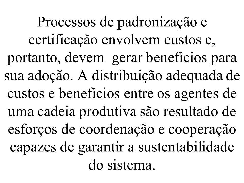 Processos de padronização e certificação envolvem custos e, portanto, devem gerar benefícios para sua adoção.