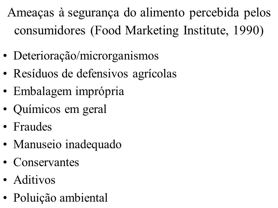 Ameaças à segurança do alimento percebida pelos consumidores (Food Marketing Institute, 1990)