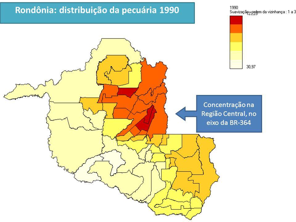 Rondônia: distribuição da pecuária 1990