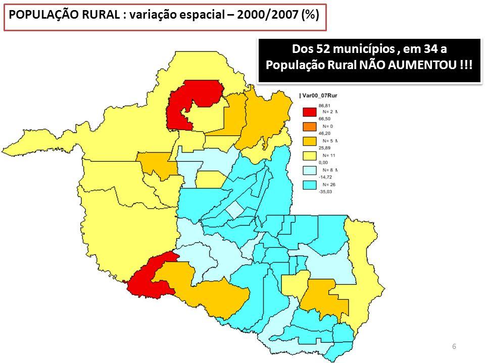 Dos 52 municípios , em 34 a População Rural NÃO AUMENTOU !!!
