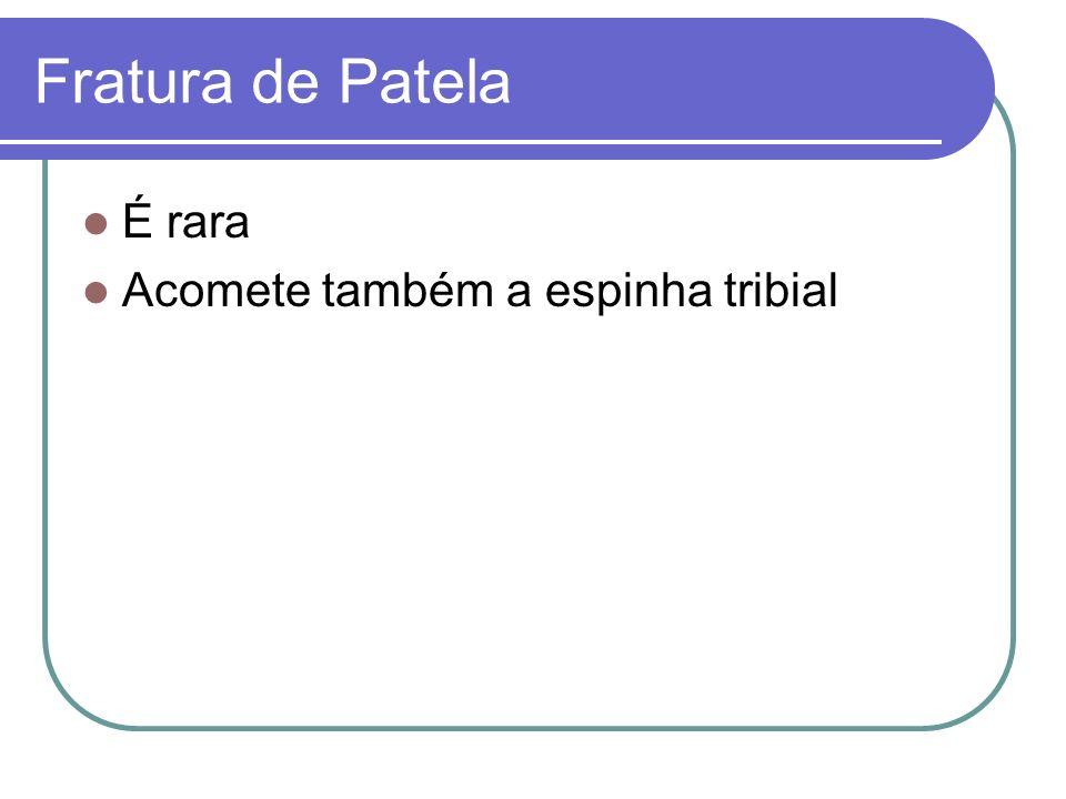 Fratura de Patela É rara Acomete também a espinha tribial