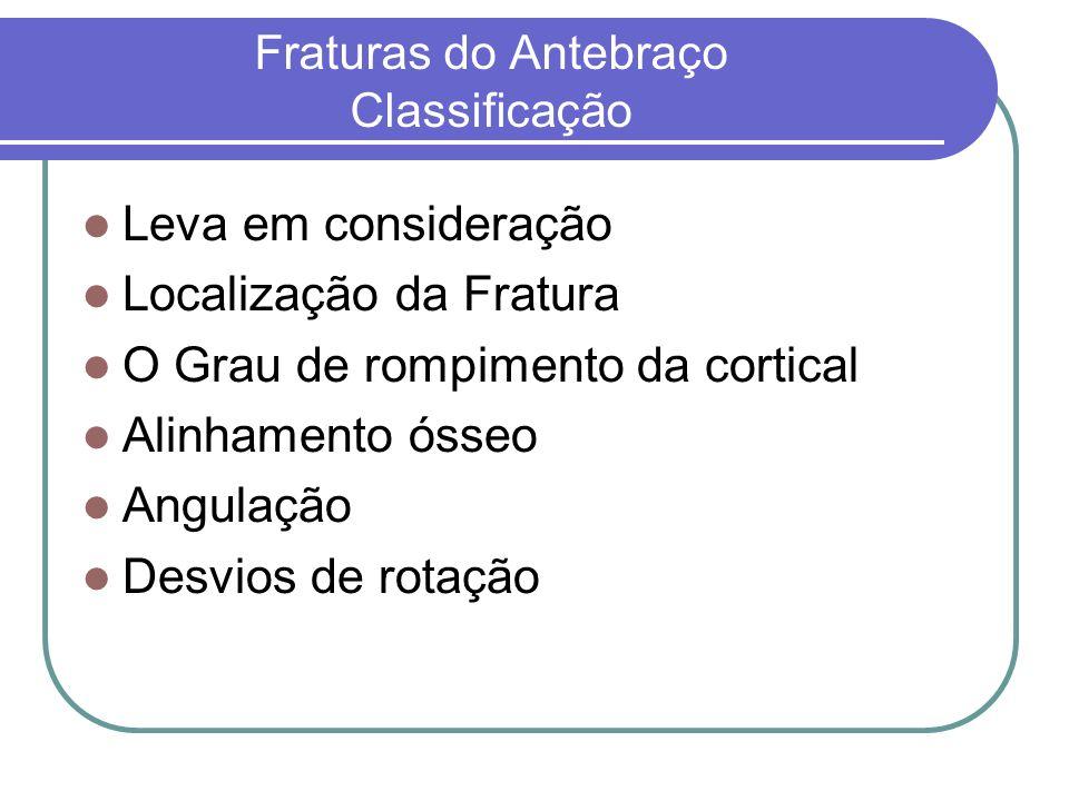 Fraturas do Antebraço Classificação