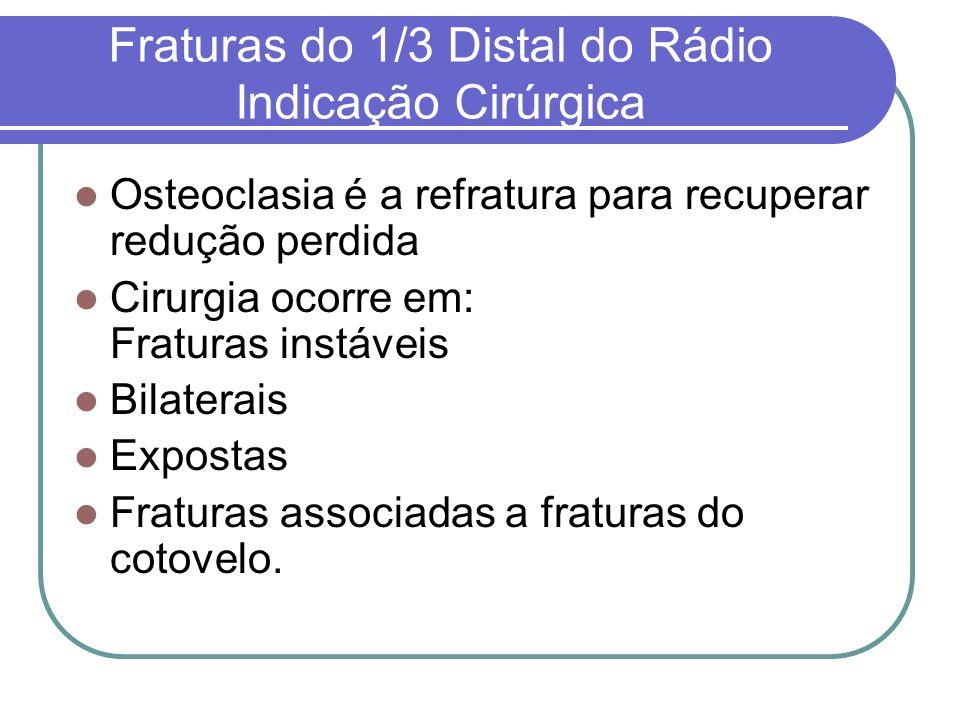 Fraturas do 1/3 Distal do Rádio Indicação Cirúrgica