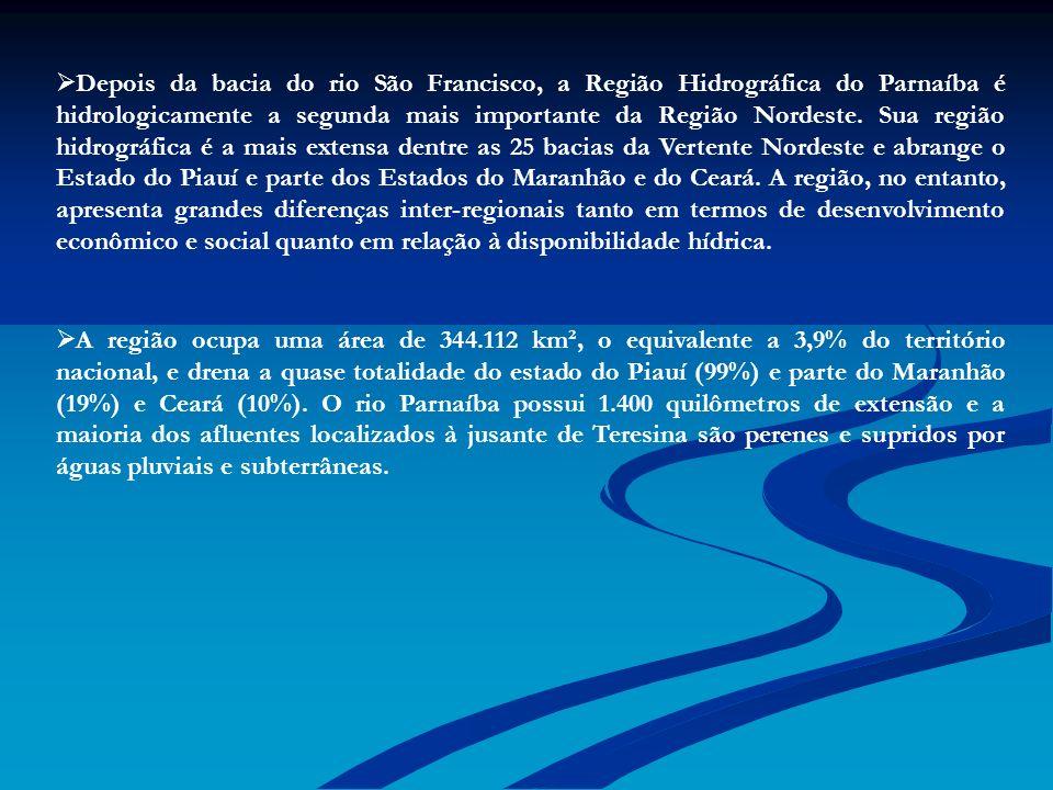 Depois da bacia do rio São Francisco, a Região Hidrográfica do Parnaíba é hidrologicamente a segunda mais importante da Região Nordeste. Sua região hidrográfica é a mais extensa dentre as 25 bacias da Vertente Nordeste e abrange o Estado do Piauí e parte dos Estados do Maranhão e do Ceará. A região, no entanto, apresenta grandes diferenças inter-regionais tanto em termos de desenvolvimento econômico e social quanto em relação à disponibilidade hídrica.