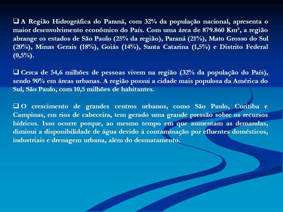 A Região Hidrográfica do Paraná, com 32% da população nacional, apresenta o maior desenvolvimento econômico do País. Com uma área de 879.860 Km², a região abrange os estados de São Paulo (25% da região), Paraná (21%), Mato Grosso do Sul (20%), Minas Gerais (18%), Goiás (14%), Santa Catarina (1,5%) e Distrito Federal (0,5%).