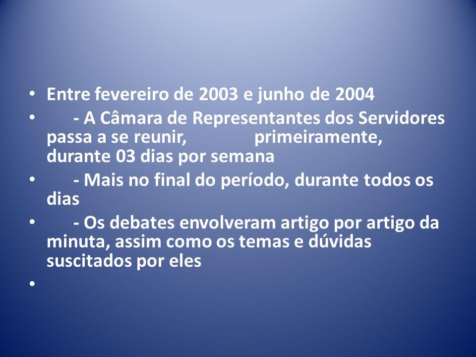 Entre fevereiro de 2003 e junho de 2004