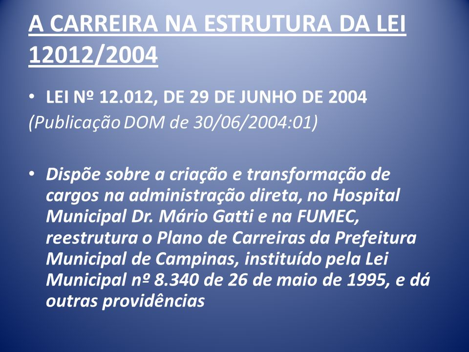 A CARREIRA NA ESTRUTURA DA LEI 12012/2004