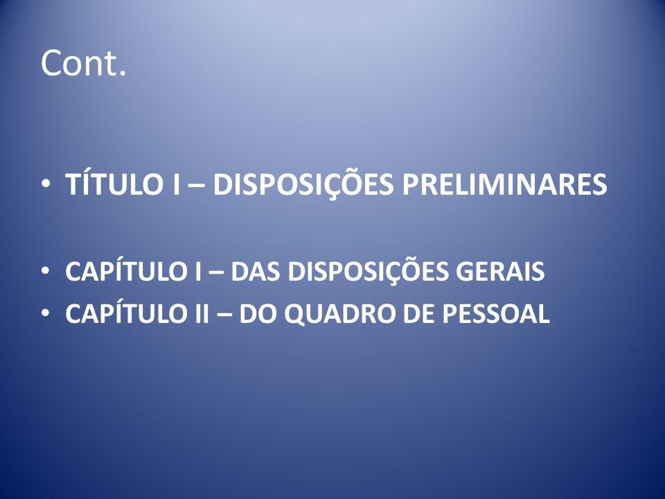 Cont. TÍTULO I – DISPOSIÇÕES PRELIMINARES