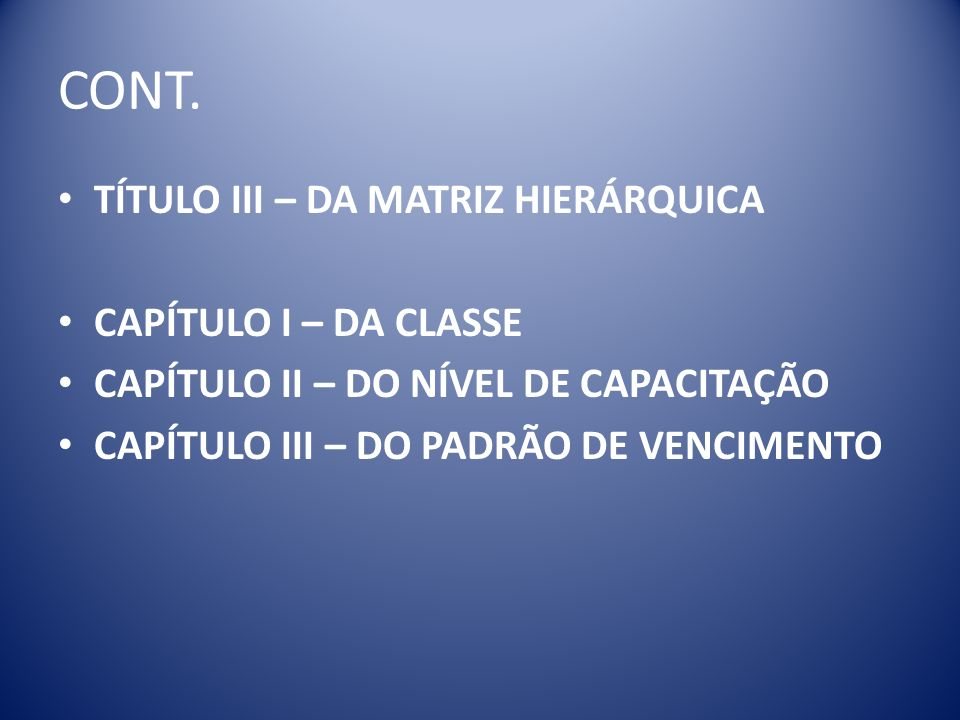 CONT. TÍTULO III – DA MATRIZ HIERÁRQUICA CAPÍTULO I – DA CLASSE