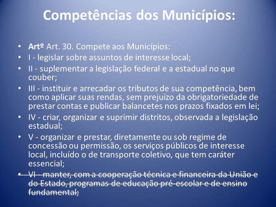 Competências dos Municípios: