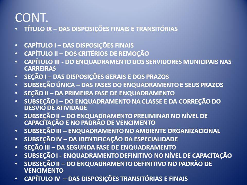 CONT. TÍTULO IX – DAS DISPOSIÇÕES FINAIS E TRANSITÓRIAS