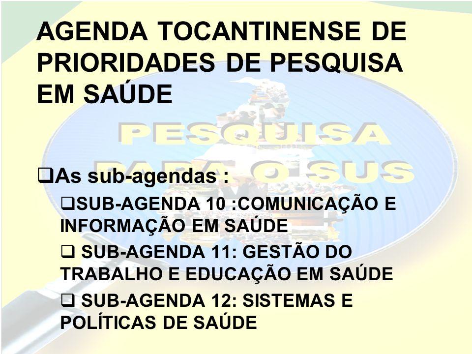 AGENDA TOCANTINENSE DE PRIORIDADES DE PESQUISA EM SAÚDE