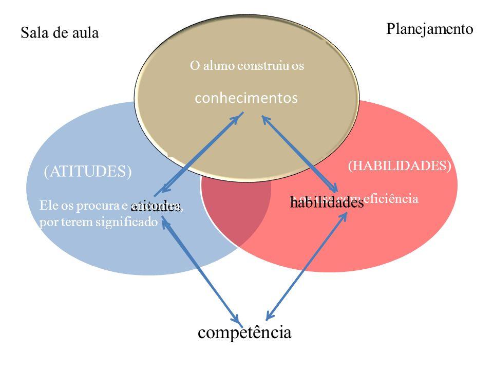 competência Planejamento Sala de aula conhecimentos (ATITUDES)