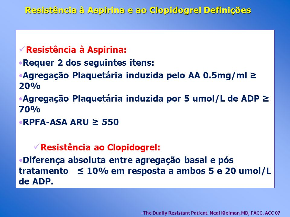 Resistência à Aspirina e ao Clopidogrel Definições