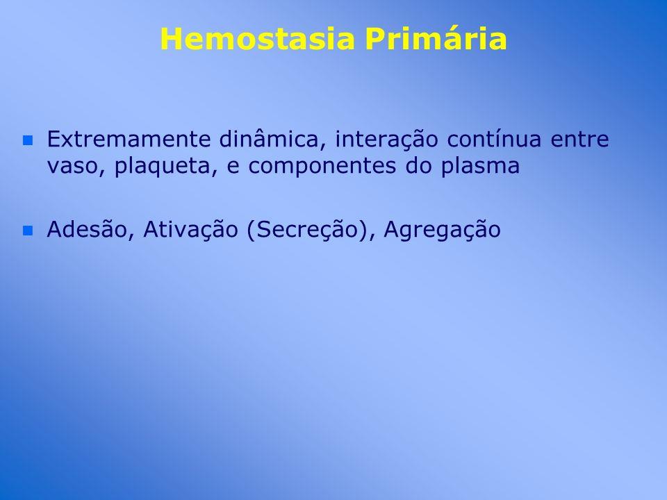 Hemostasia Primária Extremamente dinâmica, interação contínua entre vaso, plaqueta, e componentes do plasma.