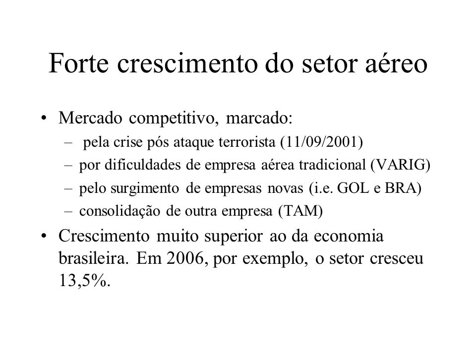 Forte crescimento do setor aéreo