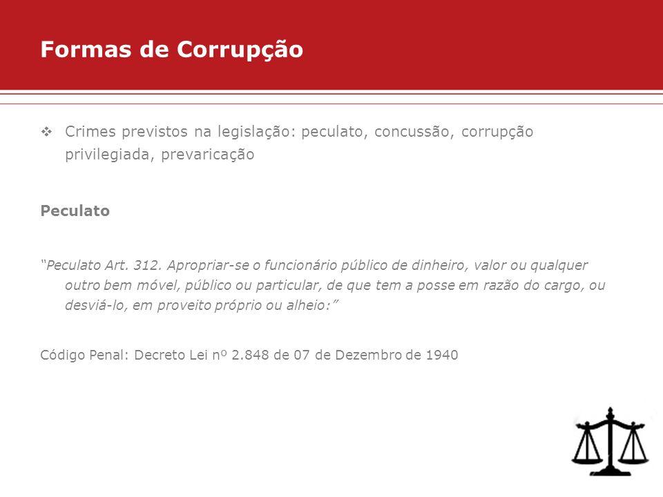 Formas de Corrupção Crimes previstos na legislação: peculato, concussão, corrupção privilegiada, prevaricação.