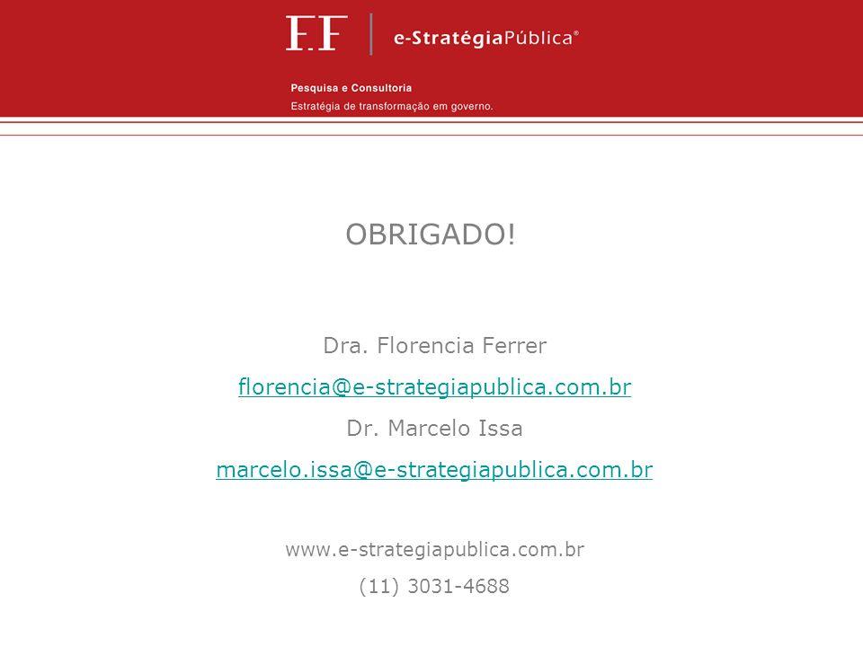 OBRIGADO! Dra. Florencia Ferrer florencia@e-strategiapublica.com.br