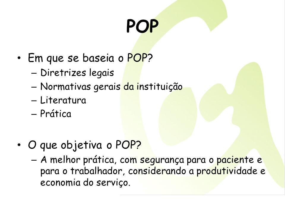 POP Em que se baseia o POP O que objetiva o POP Diretrizes legais