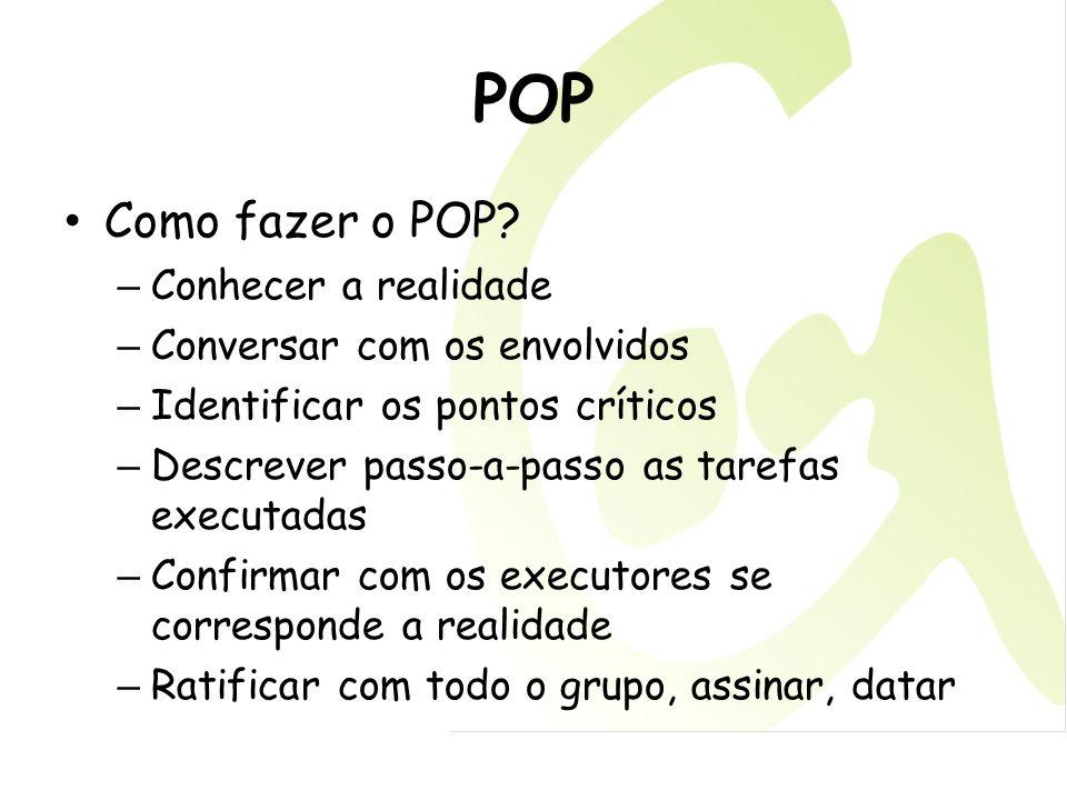 POP Como fazer o POP Conhecer a realidade Conversar com os envolvidos