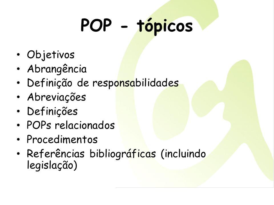 POP - tópicos Objetivos Abrangência Definição de responsabilidades