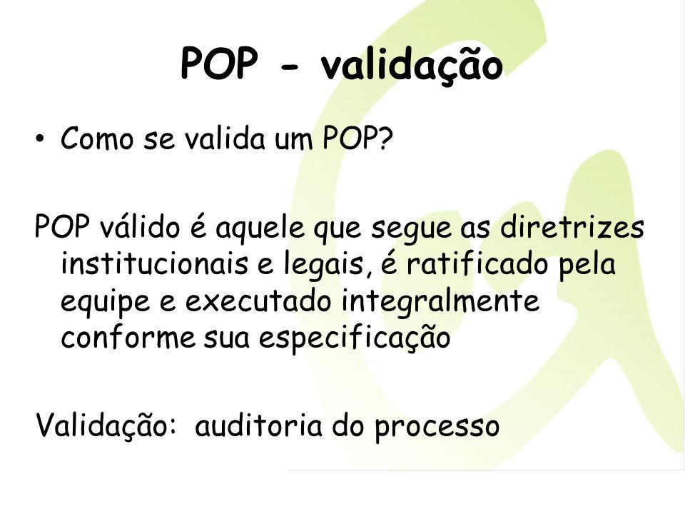 POP - validação Como se valida um POP