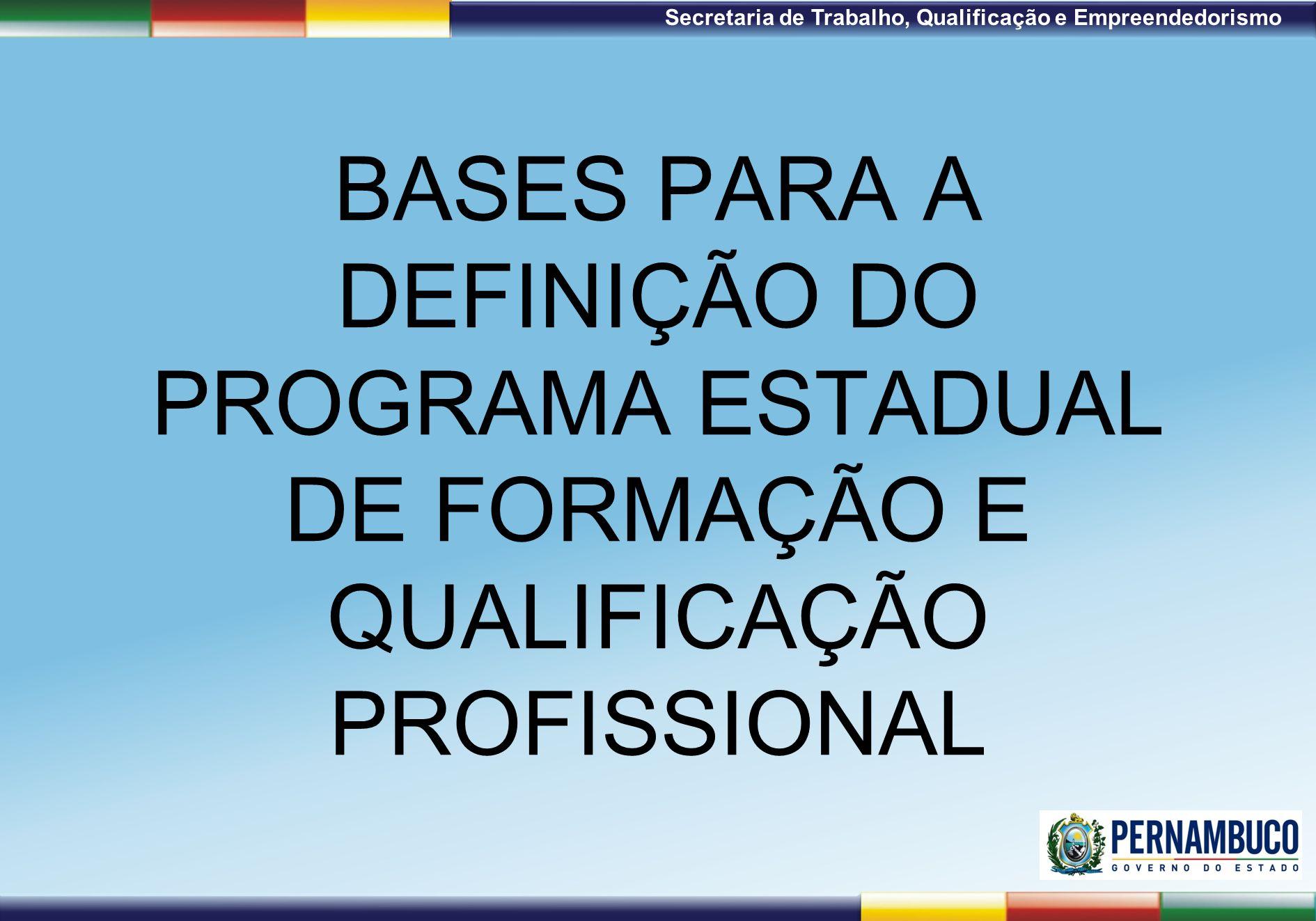 BASES PARA A DEFINIÇÃO DO PROGRAMA ESTADUAL DE FORMAÇÃO E QUALIFICAÇÃO PROFISSIONAL