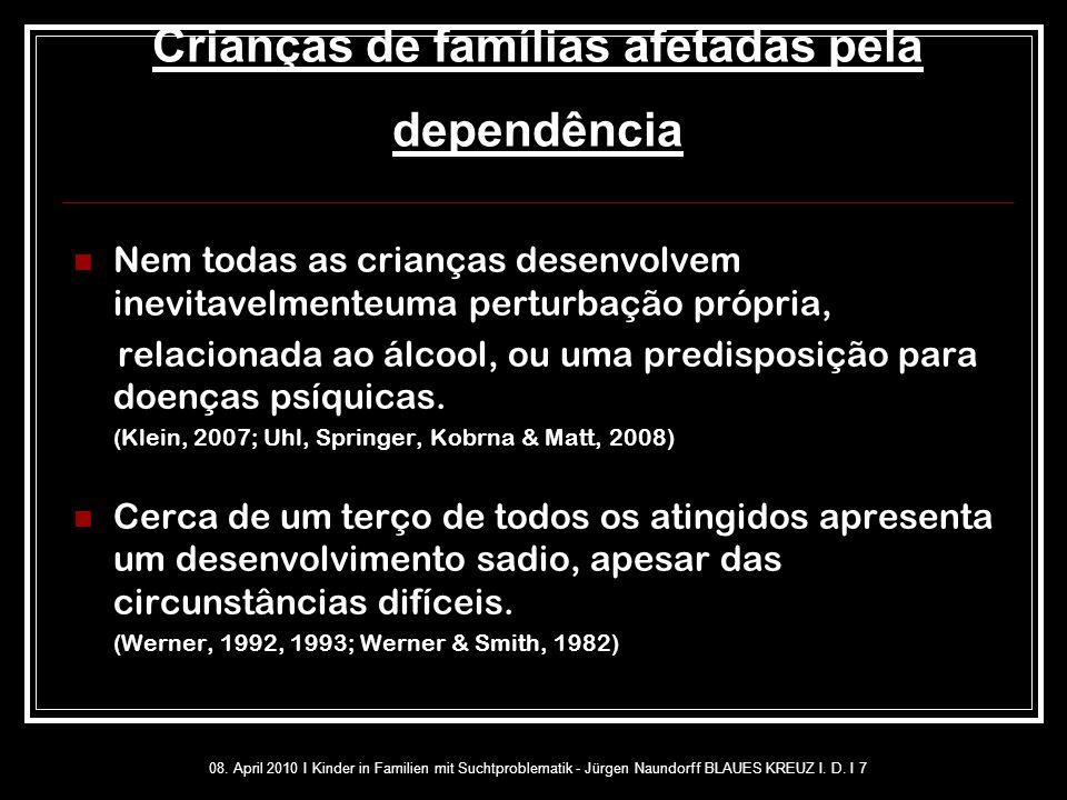 Crianças de famílias afetadas pela dependência