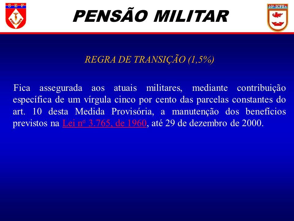 PENSÃO MILITAR REGRA DE TRANSIÇÃO (1,5%)