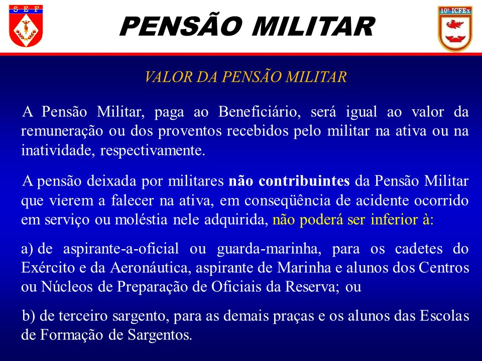 VALOR DA PENSÃO MILITAR