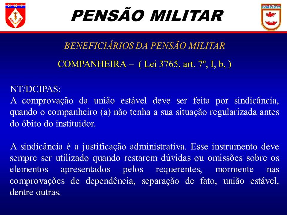 PENSÃO MILITAR BENEFICIÁRIOS DA PENSÃO MILITAR
