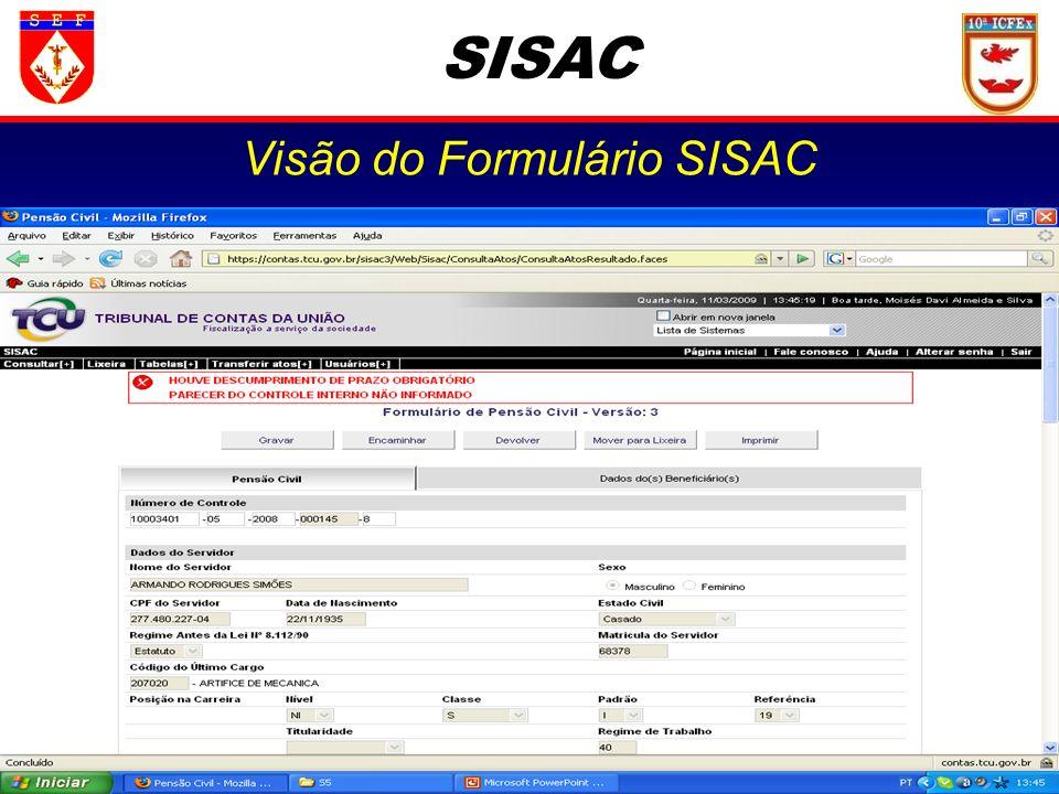 Visão do Formulário SISAC