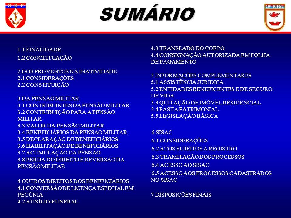SUMÁRIO 1.1 FINALIDADE.