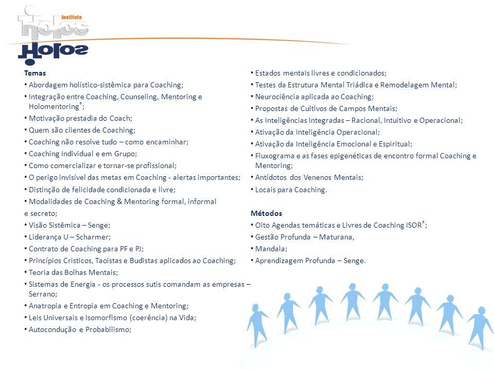 TemasEstados mentais livres e condicionados; Abordagem holístico-sistêmica para Coaching; Testes da Estrutura Mental Triádica e Remodelagem Mental;